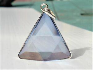 Vogel Tanzanite-Lavender Aura Quartz Triangle Silver Pendant-Exceptional Quality