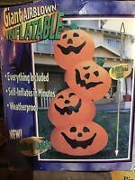 Halloween Gemmy 8 ft Giant Orange Pumpkin Stack Airblown SELF Inflatable NO FLAW