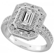 New Boxed 925 Sterling Silver Ladies Emerald Cut Wedding Engagement Ring