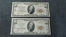 Pair of $10 Saginaw Bank Mi Notes With Sequential Serial Numbers series of 1929