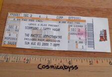 2008 Scorpions Sammy Hagar full concert ticket CA