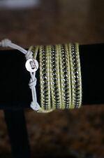 NEW Designr Chan Luu Men Women Silver Chain 5 Wrap Bracelet White Leather Yellow