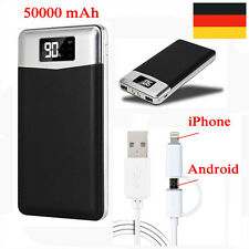 Ultra Dünn 50000mAh Power Bank LCD 2USB 2LED Zusatzakku Batterie Ladegerät Akku