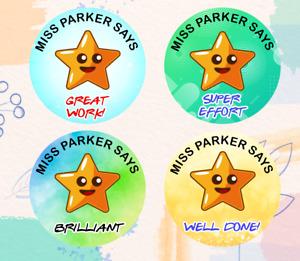 168 Personalised School Teachers Children Parents Well Done Reward Sticker Label