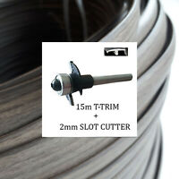 15m Campervan Cherry Woodgrain T Trim +2mm Slot cutter for 15mm furniture board