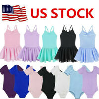 US Toddler Girls Gymnastics Leotard Dress Ballet Dance Tutu Skirt Dancewear Top