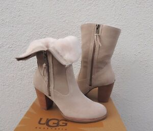 UGG LYNDA NATURAL SUEDE SHEEPSKIN HIGH HEEL ANKLE BOOTS, US 7.5/ EUR 38.5 ~NEW