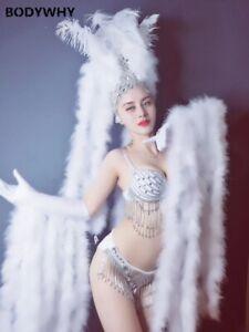 2020 Sexy white feather gloves headdress shiny crystal bikini suit stage costume