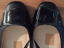 Diana Ferrari Women's supersoft Leather Black flats sz10C preowned NR