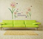 Removable Pink Flowers Butterflies Wall Sticker Mural Wall Decal Home Decor Eh