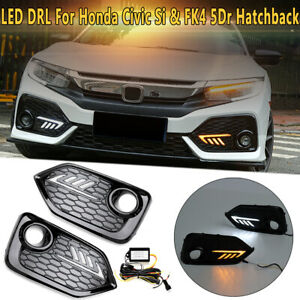 For 2016-2020 Honda Civic Si Type R Style LED DRL Daytime Running Light Fog Lamp