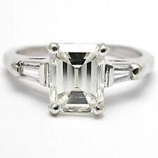 Cut Diamond 3 Stone Engagement/Wedding Ring 2.15ct 10K White Gold White Emerald