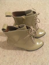Dr Martens 10-hole Ankle Boots Zita Kimora Buff Stiletto Lace Up Size 4 (37)