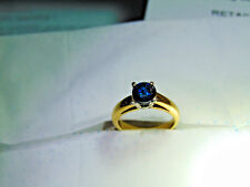 clarity in 18K Yellow gold ring. 1.02 ct Fancy Deep Blue diamond, Si2