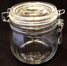 "EUC! Beautiful 4"" Tall Round Glass Jar with Wire Bail"