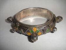 Antique Sterling Silver Moroccan Berber Ethnic Tribal African enamel Bracelet