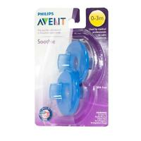 PHILIPS AVENT NEWBORN BABY SOOTHIE PACIFIER 0 - 3 MONTHS BLUE PACK OF 2