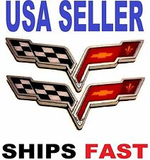 X2 Cross Flags CORVETTE chevrolet CAR TRUCK EMBLEM LOGO DECAL SIGN CHROME Tr