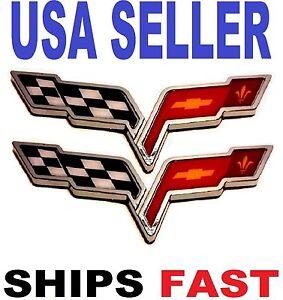 X2 Cross Flags CORVETTE TRUCK EMBLEM LOGO DECAL SIGN CHROME Fender FIT ALL CARS