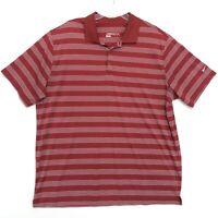 Nike Dri Fit Polo Golf Shirt Mens Size XXL 2XL Red Striped Short Sleeve *read