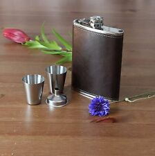 Dark Brown Leather Hip Flask Set Of 4 (1 Flask 2 cups  & 1 Funnel) Gift Pack
