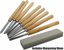 8pc Wood Turning Chisel Set & Sharpening Stone Wood Carpenter Art Professional