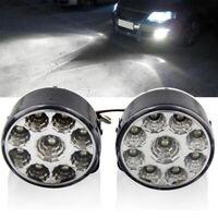 2X 9LED White DRL Car Fog Lamp Round Driving Running Daytime Light Head Light