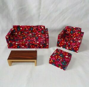 VTG Miniature Dollhouse Living Room Furniture Lot Couch Chair Table Red Germany