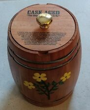 Wooden Barrel Cigar Box Cask Aged hand painted flowers storage decor container