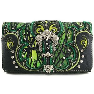 Camo Camouflage Western Buckle Fashion Country Floral Crossbody Trifold Wallet