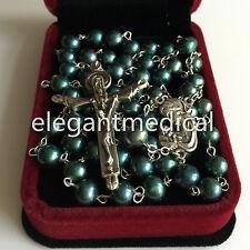 Black Malachite Green Tahitian Pearl BEADS ROSARY CROSS CATHOLIC Necklace box