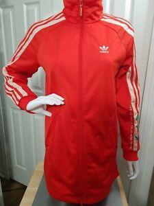 Adidas Originals long embroidered Track Jacket 3 Stripes Orange XS