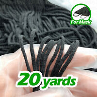 20 Yards Black 3mm Soft Round Elastic Cord Band For DIY Make Face Mask
