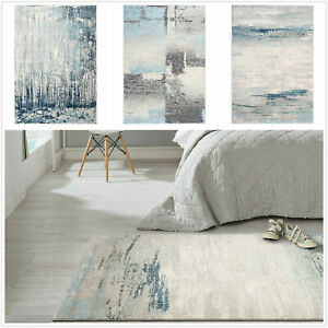 Stock Clearance Extra Large Rug Blue Thick  Durable Abstract Tonal Lounge Carpet