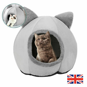Dog Pet Cat Nest Bed Puppy Soft Cave House Closed Cat Room Sleeping Mat Size L