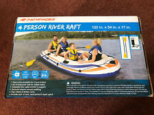 Pathfinder 4 Person Inflatable River Raft Boat, Pump, 2 Oars Kayak Rafting NEW