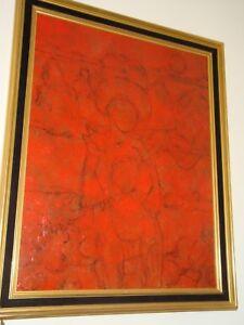 """ECOLE MODERNE, """"PERSONNAGES""""  encadrée, acrylique sur toile, VUE 90 x 70 cm"""