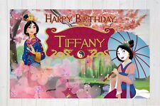 Mulan Birthday Banner Party Kids Backdrop Wall Art Decor Custom Gift Print AS136