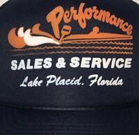 Vintage Performance Marine Trucker Hat Lake Placid Florida Snapback Blue Mesh