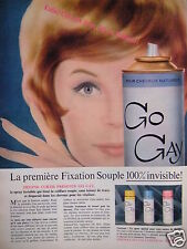 PUBLICITÉ 1961 HELENE CURTIS PRÉSENTE GO GAY POUR CHEVEUX NATURELS - ADVERTISING