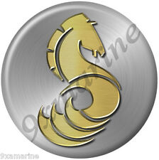 "Beneteau Horse Round Sticker 7""x7"" Brushed metal background"