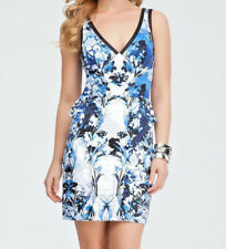 Sexy BlueElegant Vines Lined Zipper back BeBe brand pencil cleavage dress NWTS 4