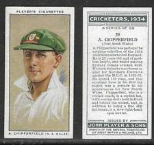PLAYERS 1934 CRICKETERS A.CHIPPERFIELD Card No 39 of 50 CRICKET CIGARETTE CARD