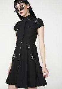 Killstar 13th Infantry Black Punk Dress Large Military Goth
