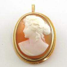 Vintage Estate Solid 10K Yellow Gold Carved Cameo Pendant Pin Brooch QX