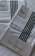 YVES DELORME TAYLOR BLANC SATIN EMBROIDERED PAIR OF EURO PILLOWCASES