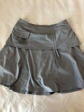 Athleta Women's Wherever Skort Athletic Skirt Attached Shorts Bow Pocket Gray 2
