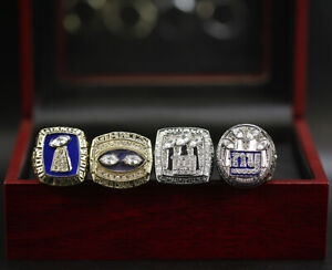 4pcs New York Giants Super Bowl Championship Ring Replica with Box