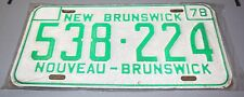 Vintage 1978 Canada Original New Brunswick License Plate SET, NEW 538-224