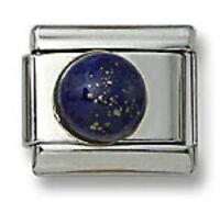 18K Gold Italian Charm Blue Lapis Stone Round 9 mm Stainless Steel Modular Link